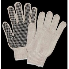 aok1110Natural Performers Extra™ Knit 7 Cut Standard Weight Polyester/Cotton String Gloves With Knit Wrist And Single Side Brown PVC Dot Coating