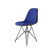 Eames Molded Plastic Upholstered Side Chair with Wire Base