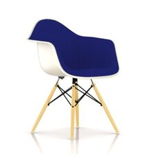 Eames Molded Fiberglass Upholstered Arm Chair with Dowel Base
