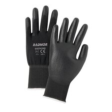 Black Economy Polyurethane Palm Coated Gloves With Seamless 13 Gauge Nylon Knit Liner