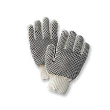 Natural Medium Weight Polyester/Cotton Ambidextrous String Gloves With Knit Wrist And Double Side Black PVC Dot Coating