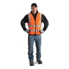 "Orange Polyester Surveyors Vest With Zipper Closure, 2"" 3M™ Scotchlite™ Reflective Stripes, 9 Outside Pockets And 3 Inside Pockets"