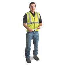 "Yellow Polyester Mesh Economy Class 2 Vest With Front Hook And Loop Closure, 2"" Beaded Tape And 1 Outside Pocket"