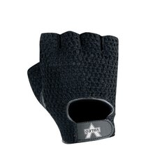 Black Fingerless Mesch Material Handling Gloves With Padded Leather Palm, Tery Lining And Hook And Loop Cuff