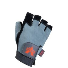 Black Split Leather Fingerless Anti-Vibe Gloves With AV GEL™ Padding, Stretch Back And Hook And Loop Cuff