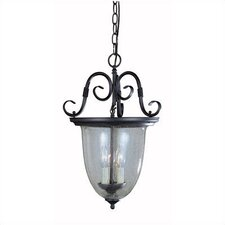 Sophisticated Detail 3 Light Smoke Bell Hanging Outdoor Lantern