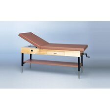 Manual Hi-Lo Upholstered Treatment Table with Adjustable Back Shelf