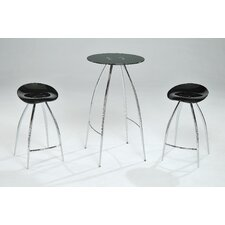 Cafe-320 Black Tempered Glass Bar Table Set in Chrome