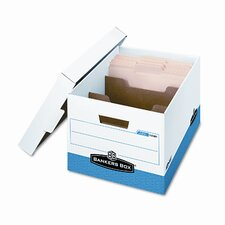 R-Kive Divider Box, Legal/Letter, 12 x 15 x 10, White/Blue, 12/Ctn