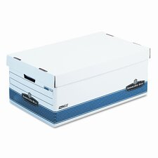 FastFold Stor/File Lid Box, Legal, 15 x 24 x 10, White/Blue, 4/Ctn