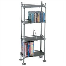 100 CD or 51 DVD 4-Tier Adjustable Multimedia Storage Rack
