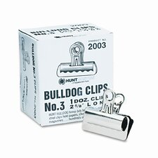 "<strong>Boston®</strong> Bulldog Clips, Steel, 7/8"" Capacity, 2-5/8""w, Nickel-Plated, 12/box"