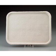 Savaday Molded Fiber Flat Food Tray in White