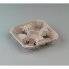 StrongHolder Molded Fiber 4-Cup Carrier with Tray