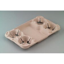 StrongHolder Molded Fiber 4-Cup Carrier with Food Tray