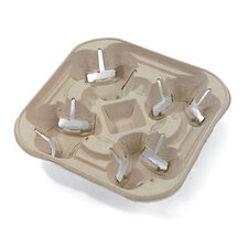 StrongHolder Four-Cup Molded Fiber Tray Holder in Beige