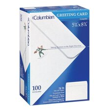 Greeting Card Envelope, 5 3/4 x 8 3/4, 24 lb, White, 100/Box