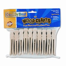 Flat Wood Slotted Clothespins, 3-3/4 Length, 40 Toothpicks per Pack