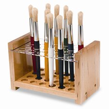 Brush Holder for 24 Brushes, Wood and Acrylic