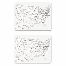 "2 Sided U.S. Map 1' 6"" x 2' Whiteboard"