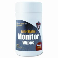 Premoistened Monitor Cleaning Wipes, Cloth, 6 x 6, 80/Tub