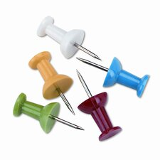 "Plastic Head Push Pins, Steel 3/8"" Point, Assorted Colors, 100 per Box"