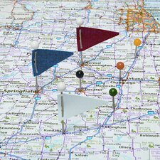 "Plastic Head Triangular Map Flags, Steel 1"" Point, Assorted Colors, 75 per Box"