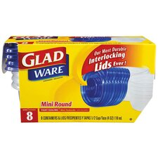 GladWare Mini-Round Food Container with Lid in Clear 12 packs of 8