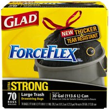 <strong>Glad</strong> (70 per Carton) 30 Gallon Drawstring Force Flex Trash Bags in Black