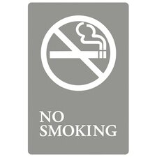 No Smoking Symbol Tactile Graphic ADA Wall Sign in Gray and White