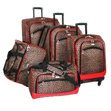 Animal Print 5 Piece Spinner Luggage Set