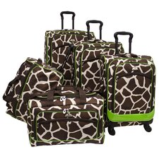 <strong>American Flyer</strong> Animal Print 5 Piece Spinner Luggage Set