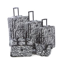 <strong>American Flyer</strong> Animal Print 5 Piece Luggage Set