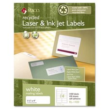 Recycled Laser and InkJet Labels, 1 1/3 x 4, White, 1400/Box