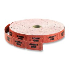 "Single Roll Tickets, ""Admit One"", 1""x2"", 2000 per Roll, Red"