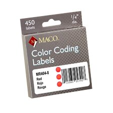 "Color Coded Labels, Perm Adhesive, 1/4"" Diameter, Red"