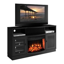 "Contemporary 64"" TV Stand with Curved Electric Fireplace"
