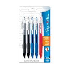 Gel Pens, Retractable, 1.0mm, 5/PK, Assorted