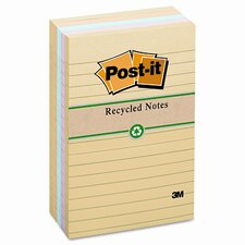 Recycled Notes, 4 x 6, Four Pastel Colors, Five 100-Sheet Pads/pack