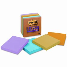Super Sticky Notes, 3 x 3, Assorted Neon/Electric, 5 90-Sheet Pads/pack