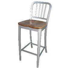 "24"" Aluminum Barstool with Wood Seat"