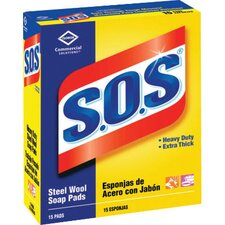 Heavy-Duty Steel Wool Soap Pad 15 Pads Per Box