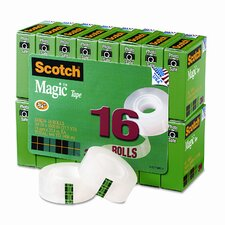 "Magic Office Tape Value Pack, 3/4"" x 28 Yards, 1"" Core, Clear, 16 Roll/Pack"