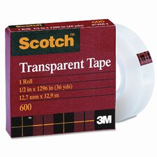 "Transparent Glossy Tape, 1/2"" x 36 Yards, 1"" Core, Clear"