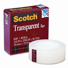 "Transparent Glossy Tape, 3/4"" x 36 Yards, 1"" Core, Clear"