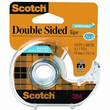 "667 Double-Sided Removable Office Tape & Dispenser, 3/4"" x 11 Yards"