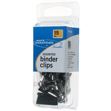 15 Pack Assorted Binder Clip