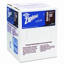 Ziploc Double Zipper Bags, Plastic, 1qt, Clear, Write-On ID Panel, 500/Carton