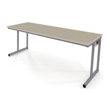 Wide Computer Table with Flip-Top Wire Management and Adjustable Height