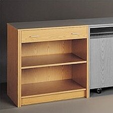 Library Modular Front Desk System - Open Storage Unit with Drawer
